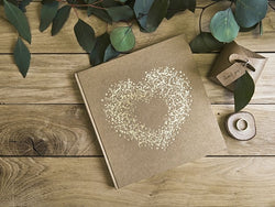 G008 Kraft Guest Book - Vintage Gold Heart