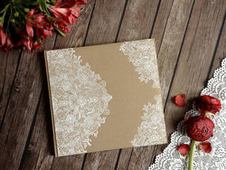 G011 Kraft Guest book - White Vintage