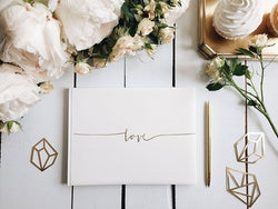 G009 White Guest Book - Gold Love