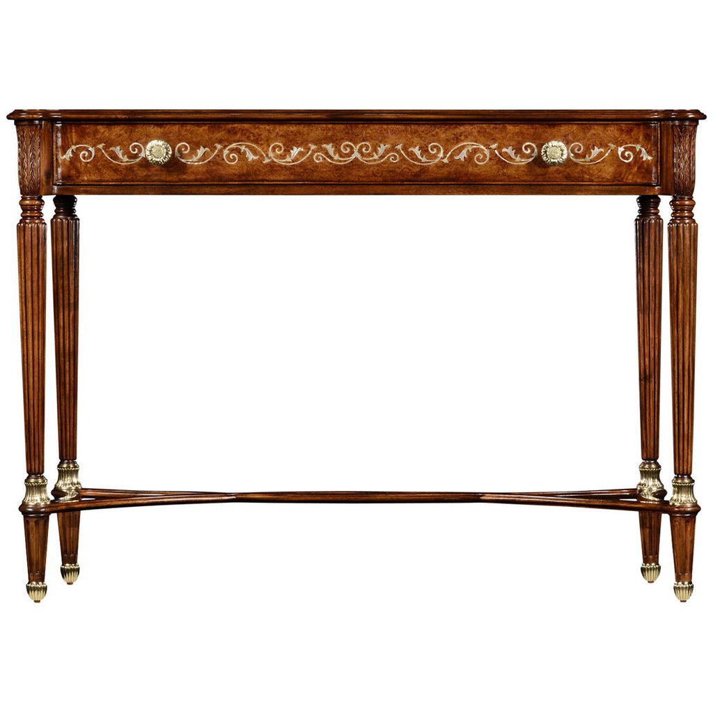 Jonathan charles burl and mother of pearl console table max and jonathan charles burl and mother of pearl console table geotapseo Image collections