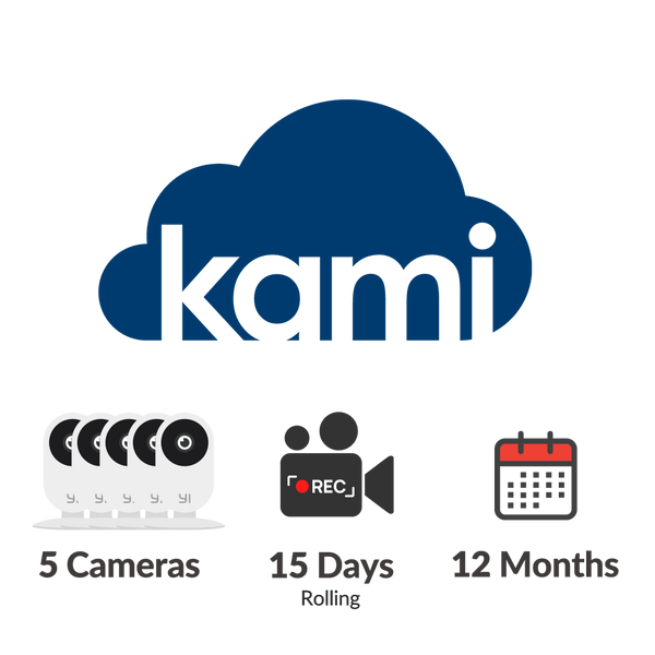 Kami Cloud - 5 cameras - 15 days rolling - 12 months