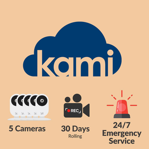 Kami Cloud - 5 Cameras - 30 Days - e911 Monitoring - 12 Months