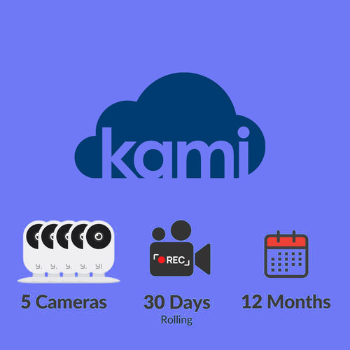 Kami Cloud - 5 cameras - 30 days rolling - 12 months