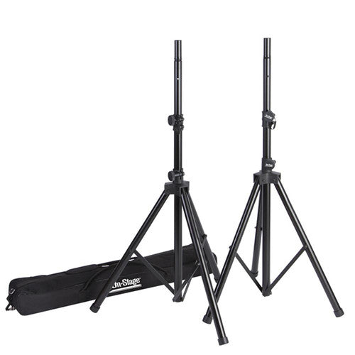 On-Stage All-Aluminum Speaker Stand Pack with Zippered Bag