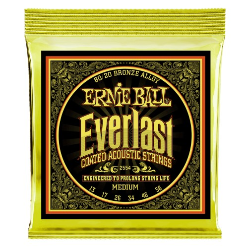 Ernie Ball 2554EB Everlast Medium Coated 80/20 Bronze Acoustic Guitar Strings 13-56 - Quest Music Store