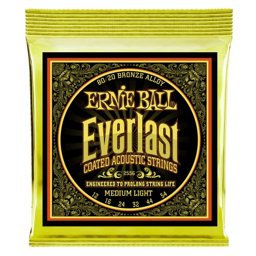 Ernie Ball 2556EB Everlast Med. Light Coated 80/20 Bronze Acoustic Guitar Strings 12-54 - Quest Music Store