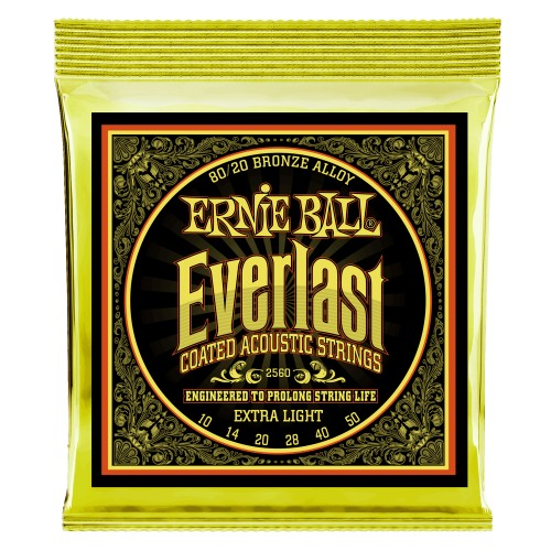 Ernie Ball 2560EB Everlast Ext. Light Coated 80/20 Bronze Acoustic Guitar Strings 10-50 - Quest Music Store