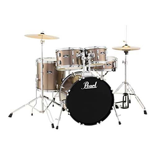 Pearl Roadshow 5-Pc Drum Set (22,10,12,16,SD) with Hardware and Cymbals - Bronze