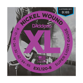 D'Addario EXL120-8 Nickel Wound, 8-String, Super Light, 9-65 - Quest Music Store