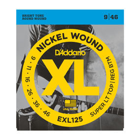 D'Addario EXL125 Nickel Wound, Super Light Top/ Regular Bottom, 9-46
