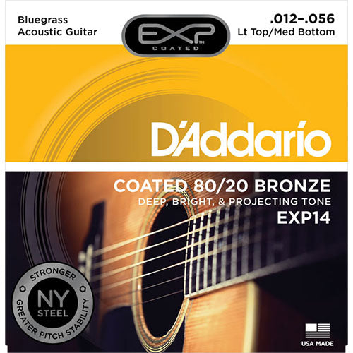 D'Addario EXP14 Coated 80/20 Bronze, Light Top/Medium Bottom/Bluegrass, 12-56
