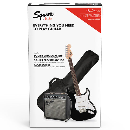 Squier Stratocaster Pack, Laurel Fingerboard, Black, Gig Bag, 10G - 120V