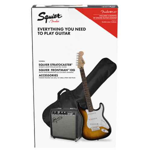 Squier Stratocaster Pack, Laurel Fingerboard, Brown Sunburst, Gig Bag, 10G - 120V