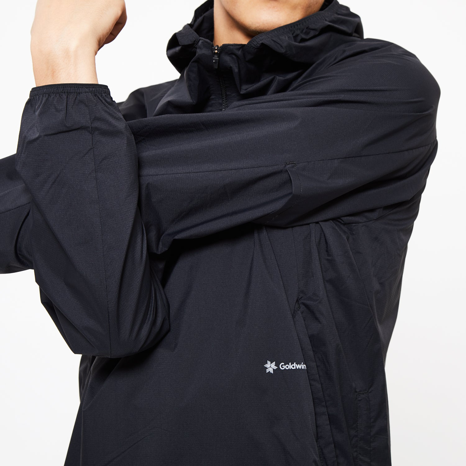 WOVEN STRETCH HALF ZIP PULLOVER BLACK