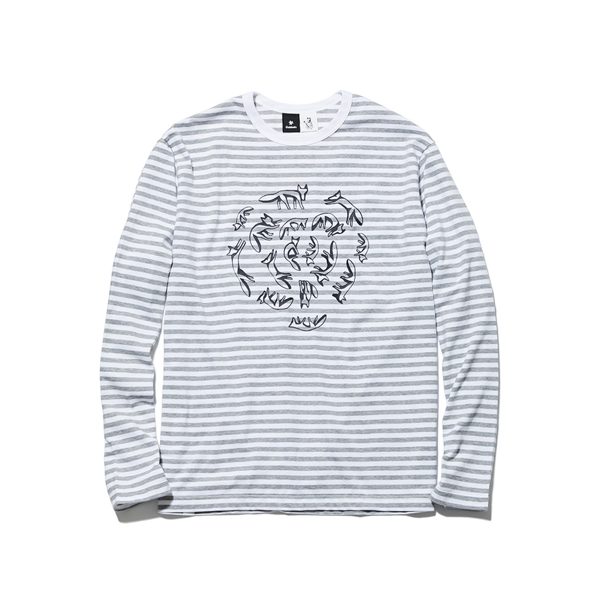 BORDER CREW NECK LONG SLEEVES HEATHER GRAY STRIPES