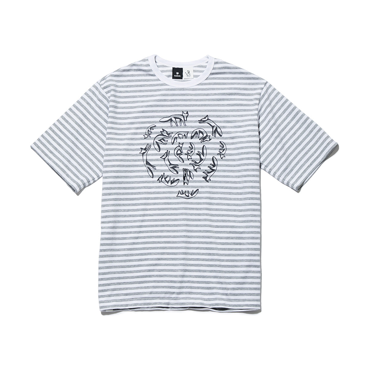 BORDER CREW NECK SHORT SLEEVES HEATHER GRAY