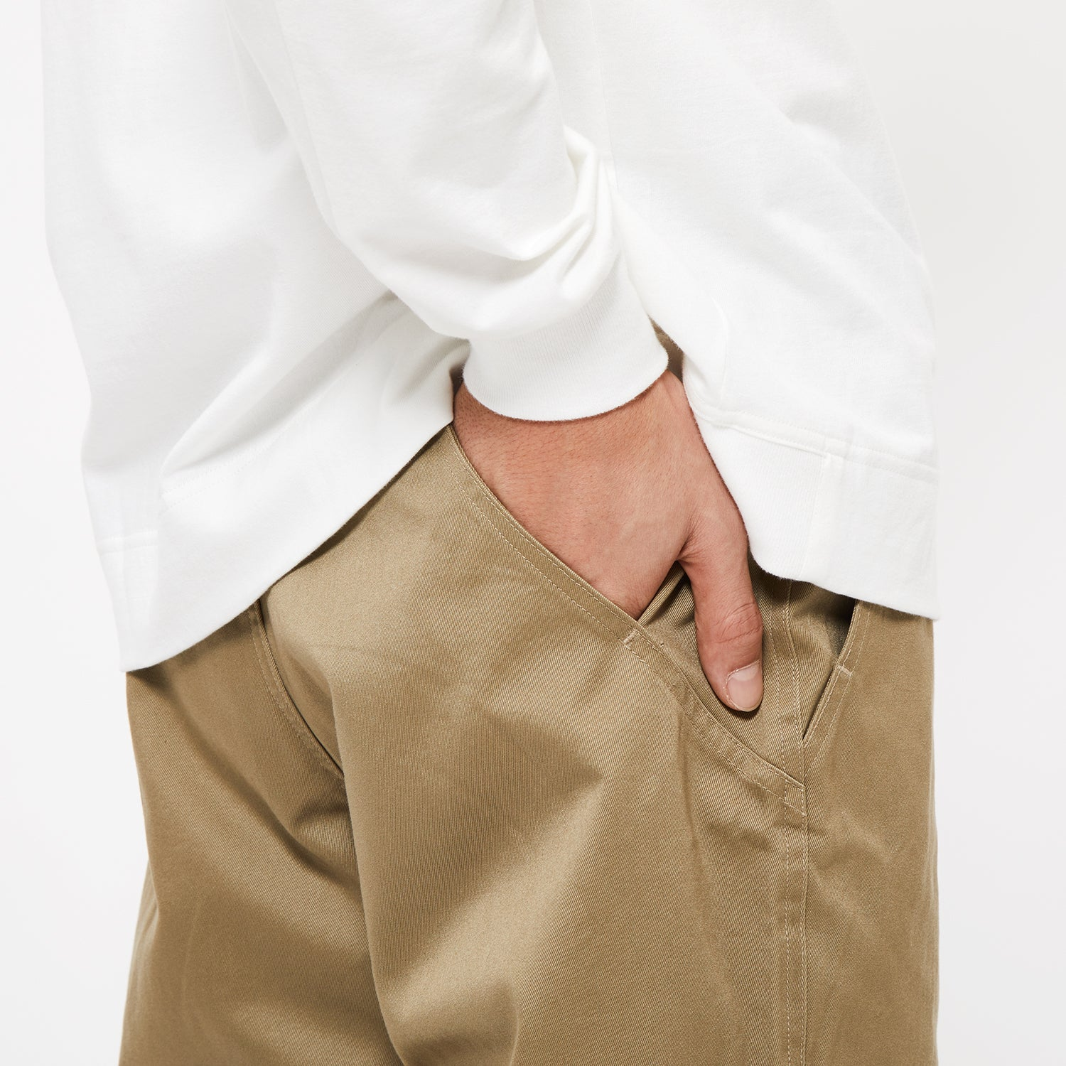 WIDE CHINO PANTS OLIVE GREEN