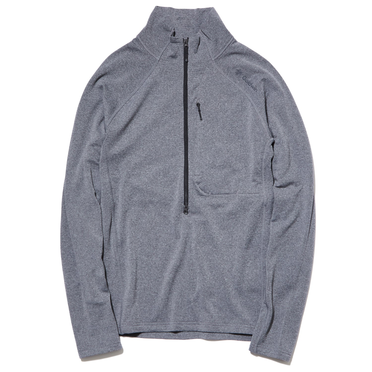 WOOL GRID HALF ZIP PULLOVER HEATHER GRAY