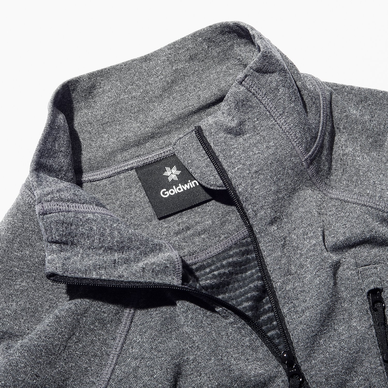 WOOL GRID ZIP NECK HEATHER GRAY