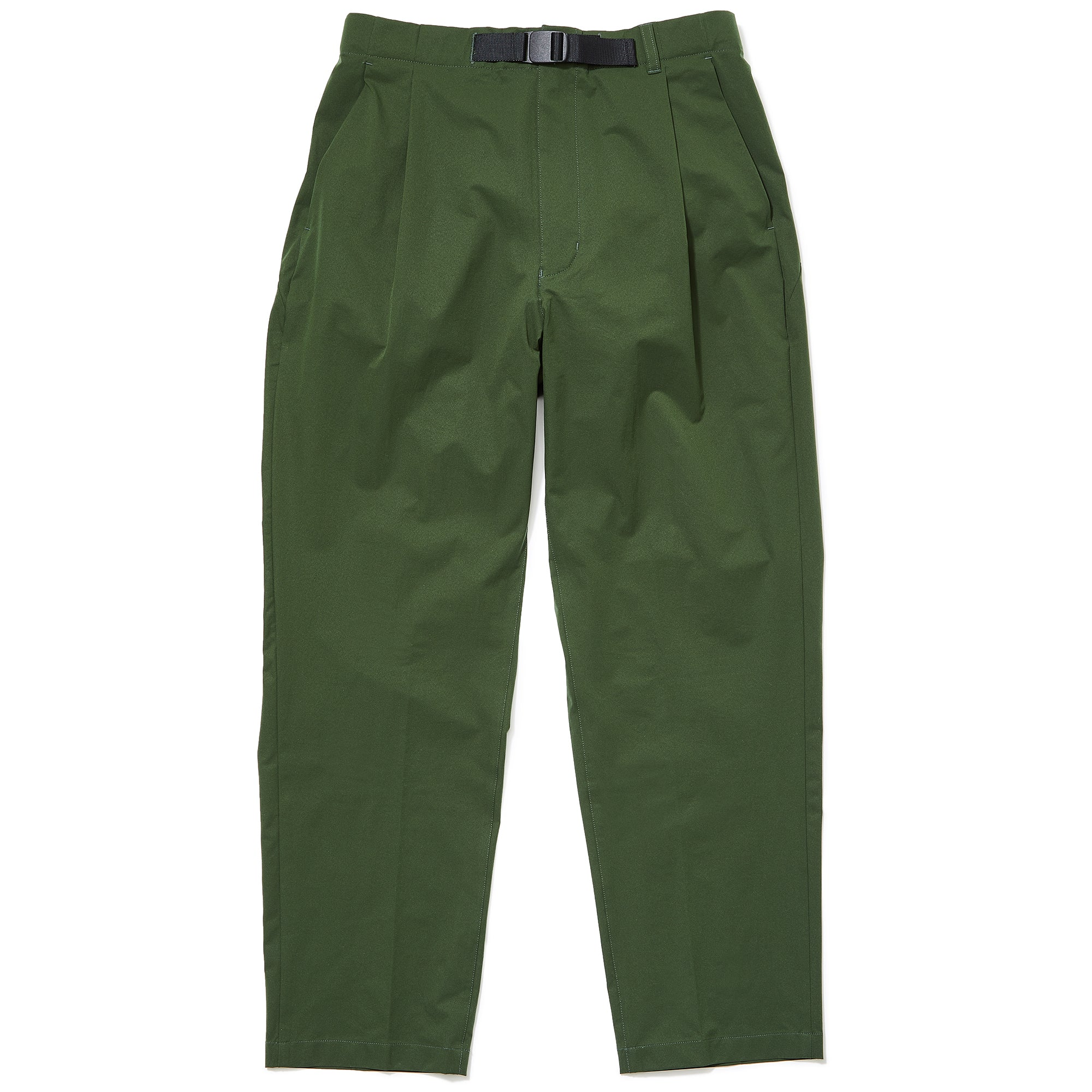 1 TUCK TAPERED STRETCH TROUSERS CYPRESS GREEN