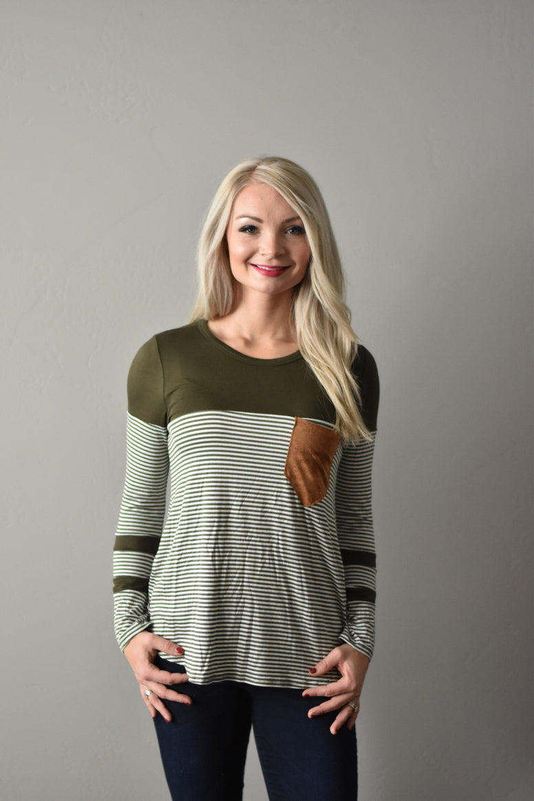 The Green Stripe Pocket Top