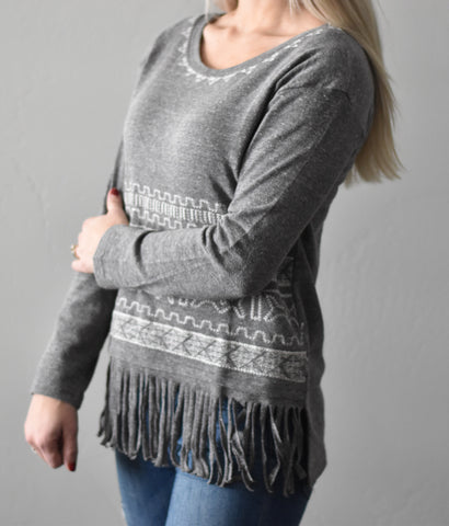 Aztec Fringe Sweater Top