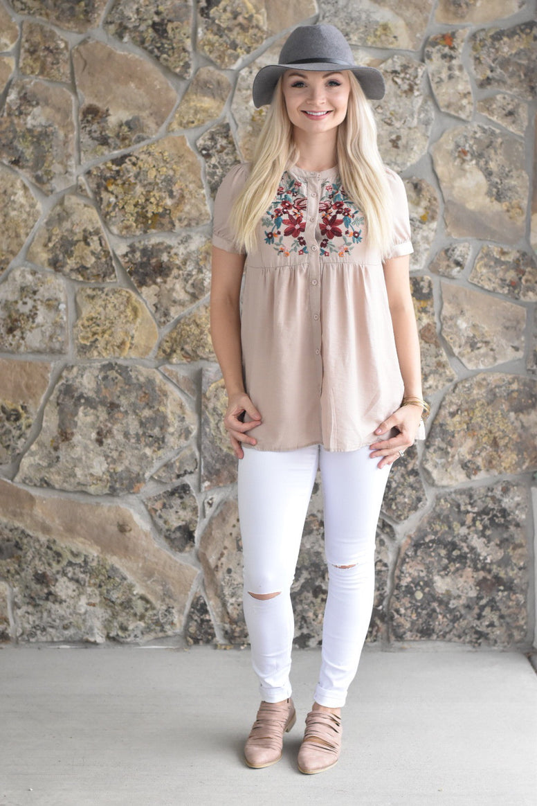 Embroidered Button Down Top in Mauve