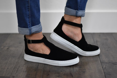 Black Velvet Keyhole Shoes