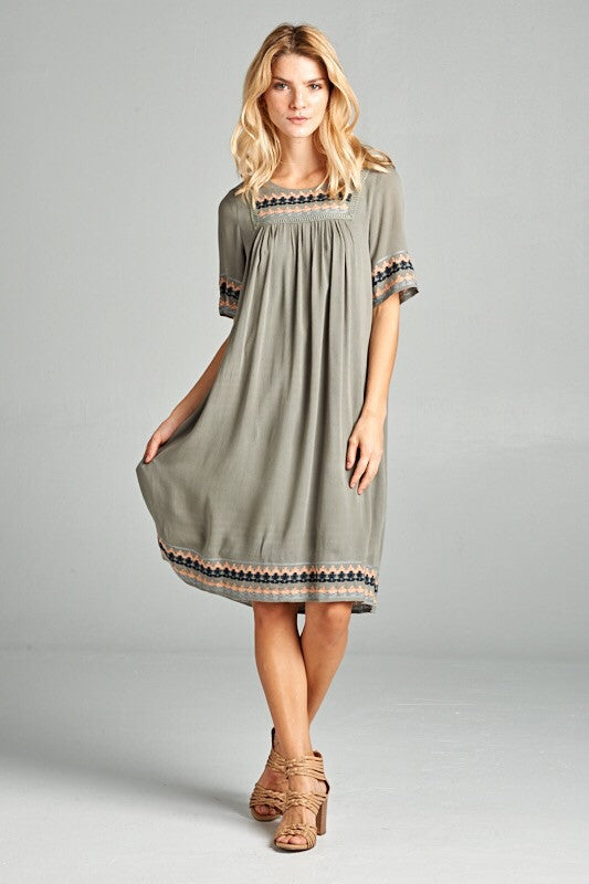 The Zion Dress in Olive