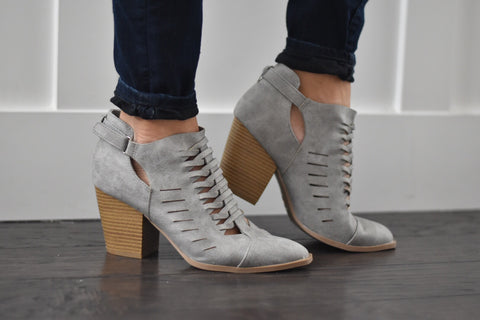 Gray Cutout Booties