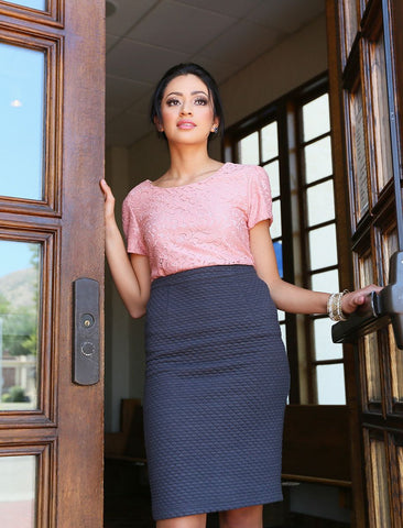 Quilted Skirt in Gray