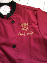 Color Contrast Chef Coat-Wine/Blk-SS
