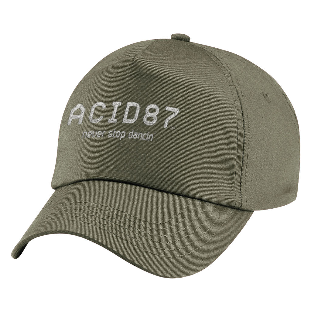 Acid87 Never Stop Dancing White Embroidered Logo Original Snapback Cap