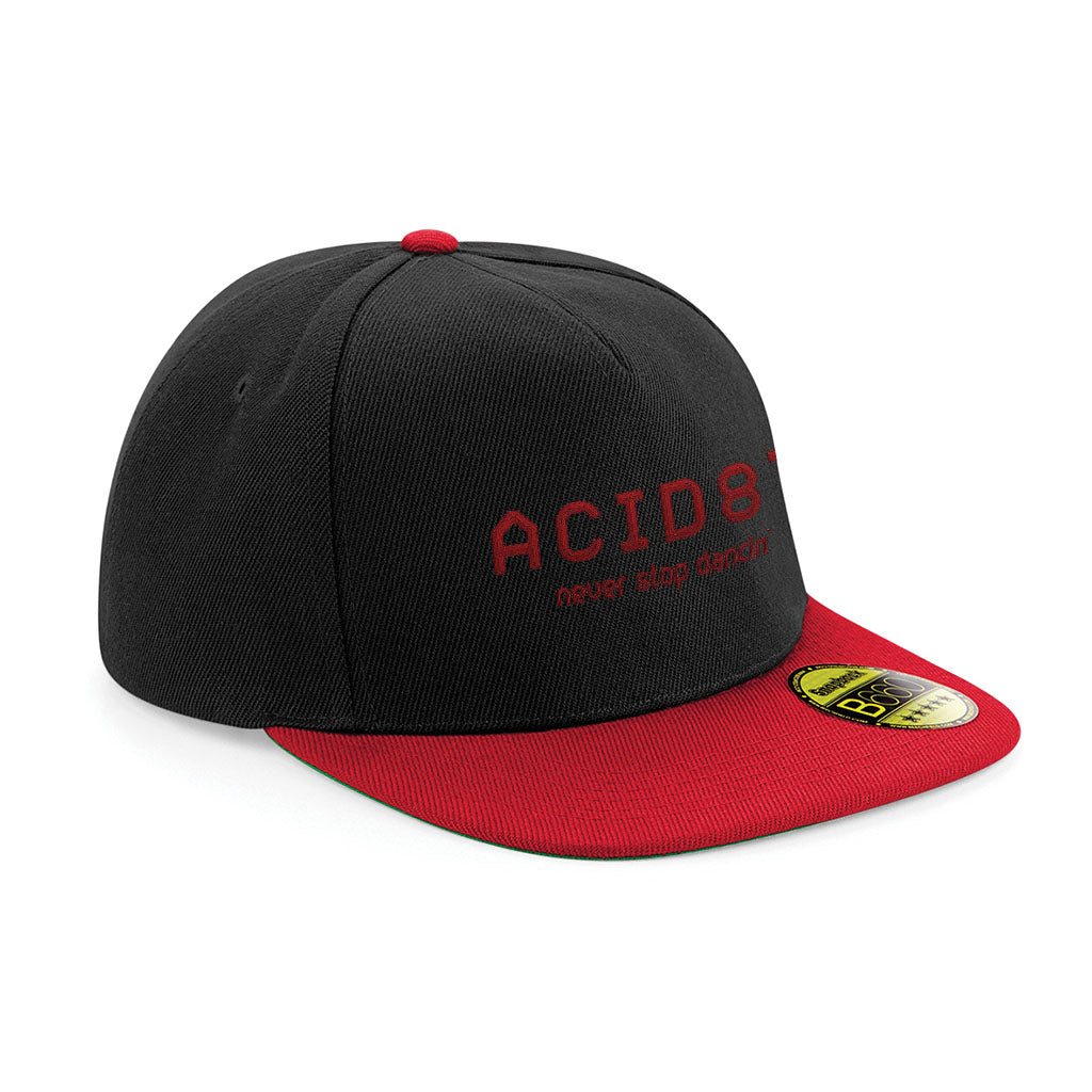 Acid87 Never Stop Dancing Red Embroidered Logo Flat Peak Snapback Cap
