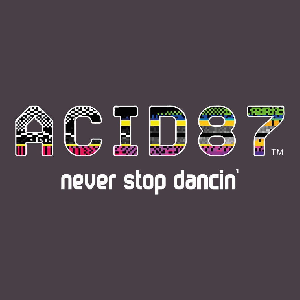 Acid87 Never Stop Dancin White Glitch Logo Unisex Hooded Sweatshirt