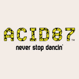 Acid87 Never Stop Dancin Large Black Smile Logo Unisex Organic T-Shirt