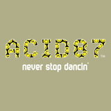 Acid87 Never Stop Dancin Large White Smile Logo Unisex Organic T-Shirt