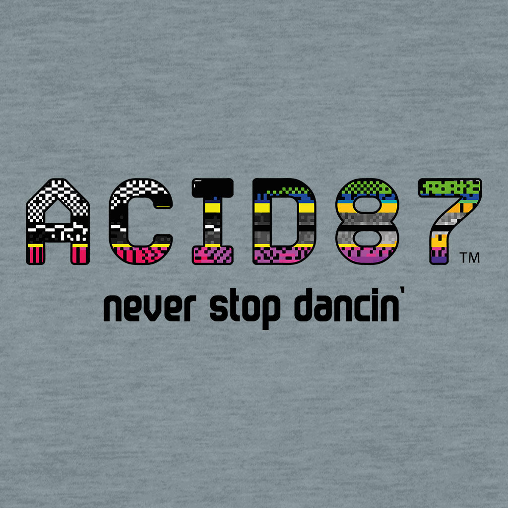 Acid87 Never Stop Dancin Large Glitch Logo Unisex Organic T-Shirt