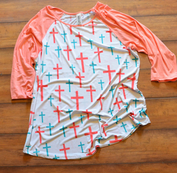 Cross Shirts – Coral and Mint
