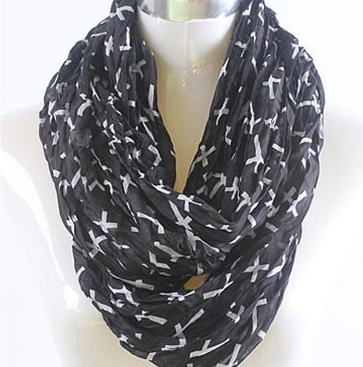 Cross Scarf Black with White Crosses