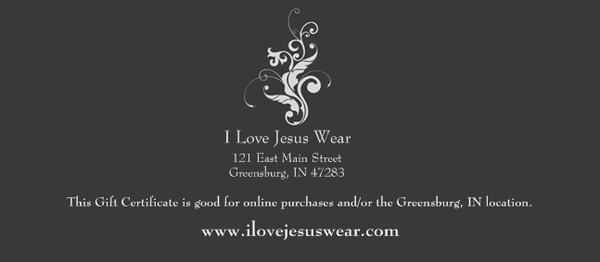 Gift Certificate $10, $25, $50 or $100