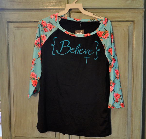 Believe Black Shirt with Blue Floral Sleeves