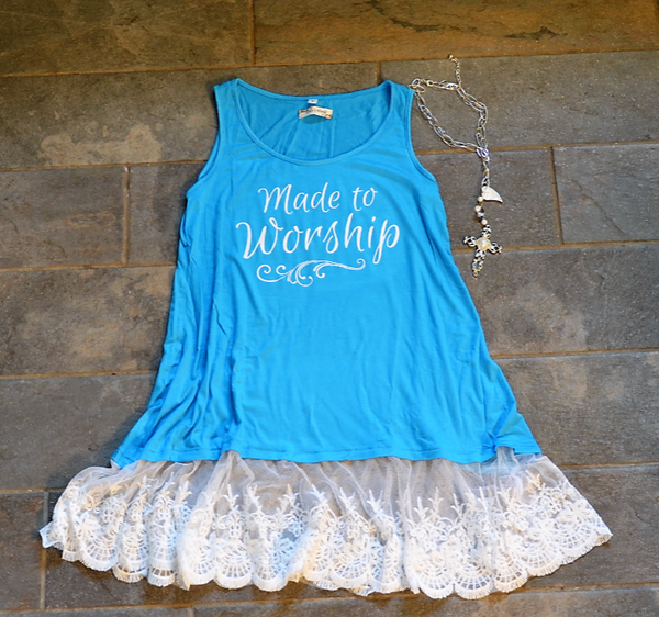 Made To Worship - Shabby Chic Tank - Sizes Small to 3X