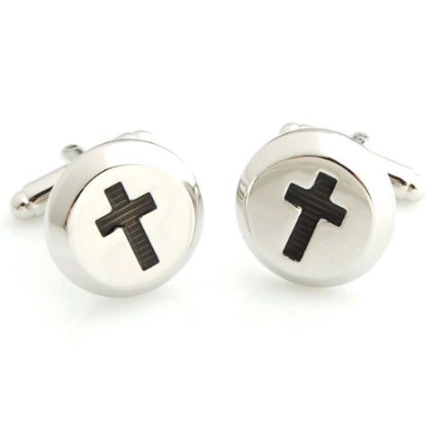Silver with Black Cross Cufflinks