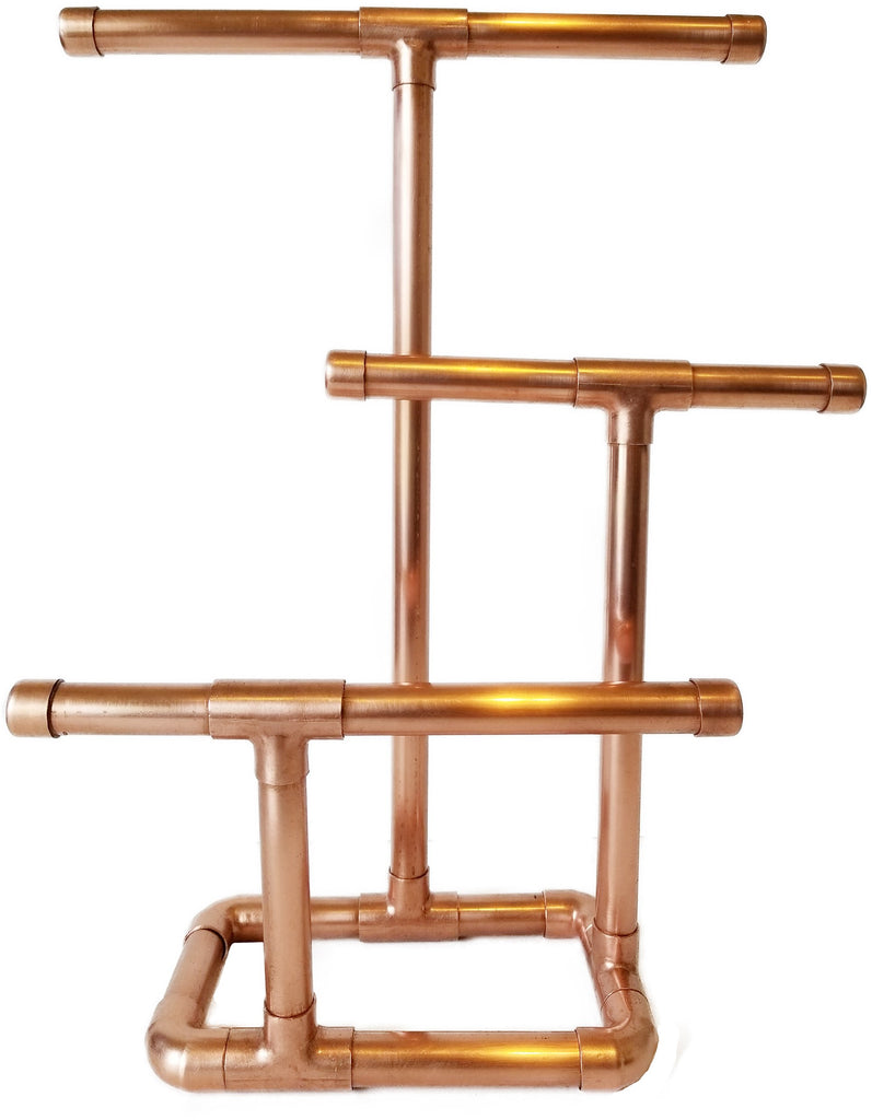 3 Tier Jewelry Stand is elegantly hancrafted with copper to hang necklaces, bracelets, and more!