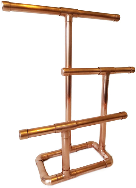 3 Tier Jewelry Stand is beautifully hancrafted with copper to hang necklaces, bracelets, and more!