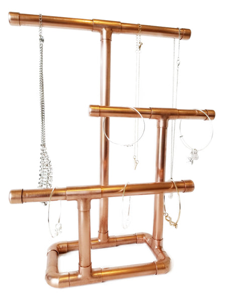 3 Tier Jewelry Stand is gorgeously hancrafted with copper to hang necklaces, bracelets, and more!