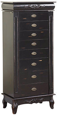Black Jewelry Armoire is classically designed to complement a jewelry collection.