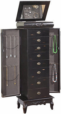 Black Jewelry Armoire is designed to accentuate a jewelry collection.