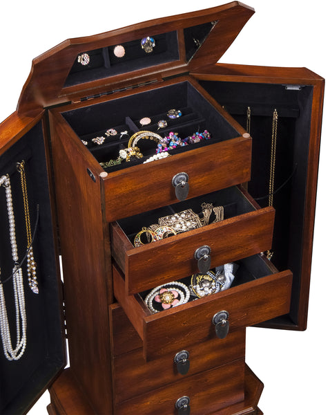 Free Standing Jewelry Armoire will stow away a collection of classic jewelry.